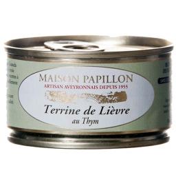 Terrine de lièvre au thym 130 gr, maison Papillon