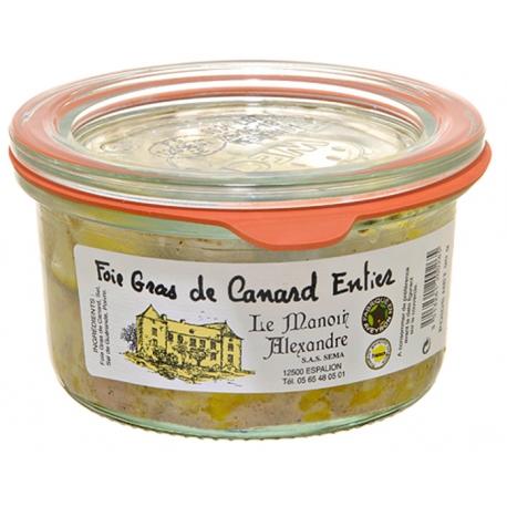 Foie gras de canard entier bocal 90 gr, manoir d'Alexandre