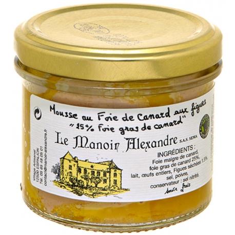 mousse de foie de canard aux figues 90 gr, manoir d'Alexandre