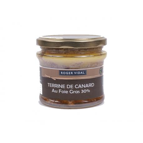 Terrine de Canard au foie gras 30%, 180 gr, maison Vidal