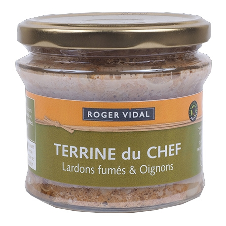 Terrine du chef oignons fumés et lardons 200 gr, maison Vidal